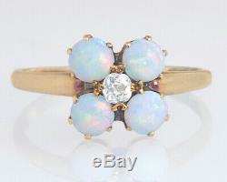 Antique Estate 14k Gold 1.15ct Genuine Diamond & Opal Victorian Engagement Ring