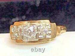Antique Estate 14k Gold 3 Diamond Ring Victorian Wedding Band White & Yellow