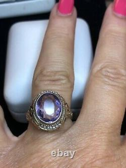 Antique Estate 14k Gold Amethyst Pearl Ring Victorian Flame Fusion Signed Rbr