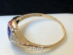 Antique Estate 14k Gold Blue Sapphire Diamond Ring Band Victorian Wedding
