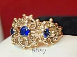 Antique Estate 14k Gold Blue Sapphire Ring Band Victorian Cigar Band
