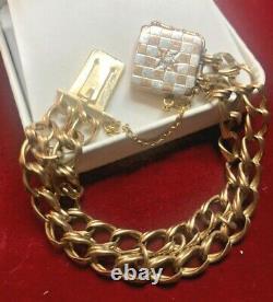 Antique Estate 14k Gold Charm Bracelet Diamond Victorian Double Chain C 1880