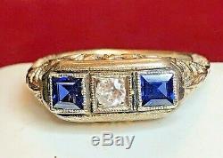 Antique Estate 14k Gold Diamond & Blue Sapphire Ring Victorian Art Deco Wedding