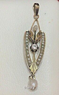 Antique Estate 14k Gold Diamond Pendant Lavaliere Victorian Pearl Signed Lja