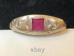 Antique Estate 14k Gold Diamond & Ruby Ring Art Deco Victorian Wedding Band