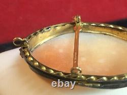 Antique Estate 14k Gold Filled Large Cameo Pendant Pin Brooch Shell Victorian