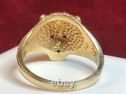 Antique Estate 14k Gold Lion Ring Pink Sapphire Diamond Signed Cwr Victorian