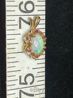 Antique Estate 14k Gold Natural Australian Opal & Red Ruby Pendant Victorian