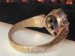 Antique Estate 14k Gold Natural Purple Amethyst Ring Victorian Gemstone 2.75 Cts