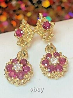 Antique Estate 14k Gold Natural Red Ruby Diamond Earrings Gemstone Victorian
