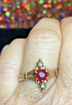 Antique Estate 14k Gold Natural Red Ruby & Diamond Ring Victorian Band Wedding