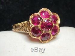 Antique Estate 14k Gold Natural Red Ruby Ring Gemstone Flower Victorian