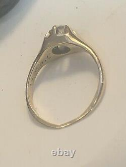 Antique Estate 14k Gold Rose Cut Diamond Ring Belcher Setting Victorian