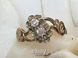 Antique Estate 14k Gold Rose Cut Diamond Ring Edwardian Victorian Engagement