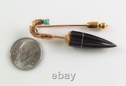 Antique Estate 14k Gold Victorian Carved Onyx Umbrella Stick Pin Lapel Pin