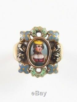 Antique Estate 14k Gold Victorian Swiss Enamel Lady Portrait Ring Size 6.25