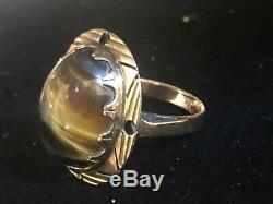 Antique Estate 14k Gold Victorian Tiger Eye Ring Art Deco Gemstone