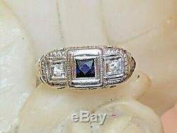 Antique Estate 14k Gold White & Blue Sapphire Ring Victorian Art Deco Wedding