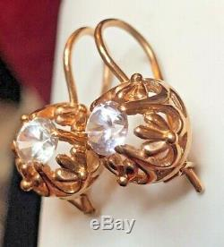 Antique Estate 14k Gold White Quartz Earrings Victorian Made In Italy 585