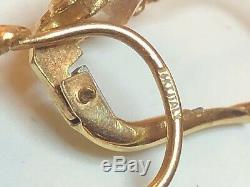 Antique Estate 14k Gold White Quartz Earrings Victorian Made Italy 585 Leverback