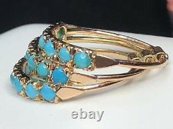 Antique Estate 14k Rose Gold Harem Ring Multi Band Persian Turquoise Victorian