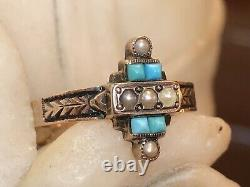 Antique Estate 14k Rose Gold Turquoise & Pearl Ring Victorian