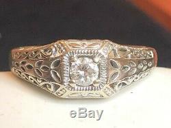 Antique Estate 14k White Gold Diamond Ring Victorian Art Deco Wedding Milgrain