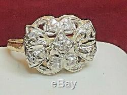 Antique Estate 14k White Yellow Gold Natural Diamond Ring Victorian Art Deco