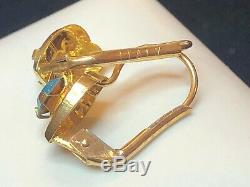 Antique Estate 14k Yellow Gold Blue Heart Earrings Victorian Made In Italy 585
