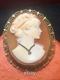 Antique Estate 14k Yellow Gold Cameo Pin Diamond Pendant Victorian Signed Apa