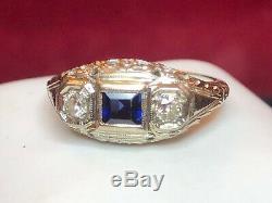 Antique Estate 18k Gold Diamond & Blue Sapphire Ring Victorian Art Deco Wedding