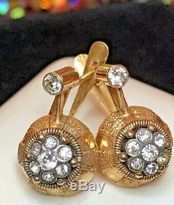 Antique Estate 18k Gold Earrings Diamant'e Encrusted Victorian Cluster