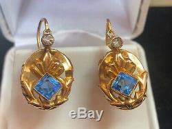 Antique Estate 18k Gold Edwardian Victorian Earrings Milgrain Detail