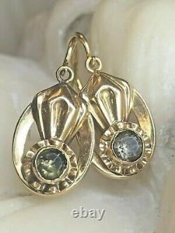 Antique Estate 18k Gold Green Toumaline Victorian Earrings Front Closure French