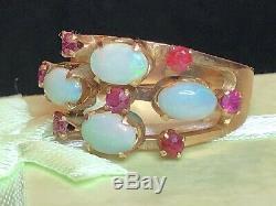Antique Estate 18k Gold Natural Australian Opal & Ruby Ring Gemstone Victorian