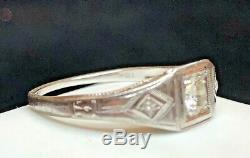 Antique Estate 18k White Gold Diamond Ring Victorian Art Deco Wedding Milgrain