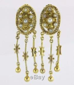 Antique Estate 18k Yellow Gold Genuine Pearl Victorian Dangle Earrings 6.4g