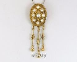 Antique Estate 18k Yellow Gold Genuine Pearl Victorian Dangle Pendant 4.7g