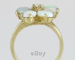 Antique Estate 1.05ct Genuine Diamond & Opal Flower 14K Gold Victorian Ring