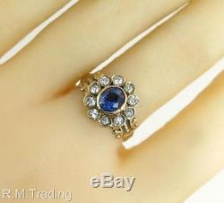 Antique Estate 1.35ct Genuine Diamond & Blue Sapphire 14k Gold Victorian Ring