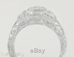 Antique Estate. 27ct Genuine Diamond 18K White Gold Victorian Era Ring 1904