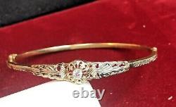 Antique Estate 8k Yellow Gold Bracelet Victorian Edwardian 333 Signed Bangle