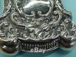 Antique Estate Art Nouveau Victorian Sterling Match Safe Baroque Design 2 5/8