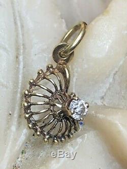 Antique Estate Diamond Pendant Charm Victorian Art Deco Signed De Made In Italy