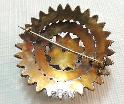Antique Estate Edwardian Victorian Rose Cut Garnet 9k Yellow Gold Star Brooch