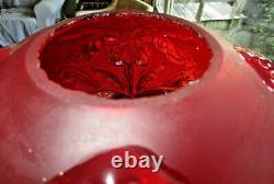 Antique Estate Fenton Ruby Red Satin Regal Iris Table Lamp Electrified