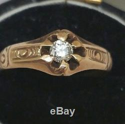 Antique Estate Gothic Victorian Rose 10K Diamond Belcher Ring, 1880s