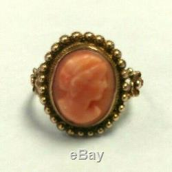 Antique Estate Ring Carved Pink Coral Cameo Victorian Cameo-style 14k Size 6+