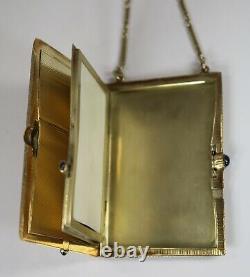 Antique Estate Signed Victorian 14k Gold Necessaire Compact w Sapphires c1880