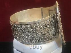 Antique Estate Sterling Silver Belt Buckle Bracelet Signed Victorian Filigree
